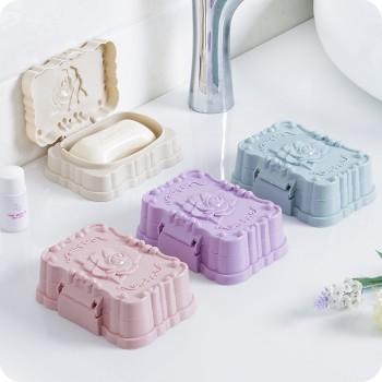3个装 大号立体玫瑰花带盖防水密封香皂盒