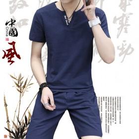 男士套装夏季2017新款短袖韩版潮流棉两件套
