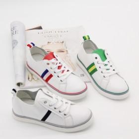 皮面小白鞋女夏系带白色帆布鞋女韩版休闲鞋百搭透气平