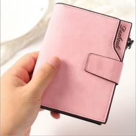 女士钱包短款三折叠复古搭扣学生磨砂多卡位拉链钱夹