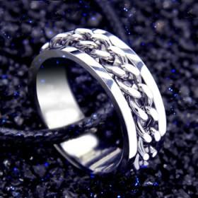 霸气男士链条戒指 钛钢指环男款潮时尚单身戒子饰品