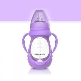 婴幼儿童奶瓶玻璃奶瓶八件套包胶奶瓶
