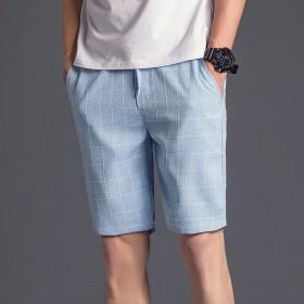 夏季男士韩版修身格子短裤男装中裤夏天五分裤休闲沙滩