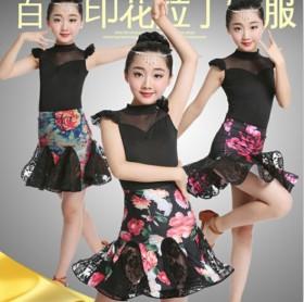 夏季新款女童拉丁舞服装印花蕾丝拉丁裙练功服演出比赛