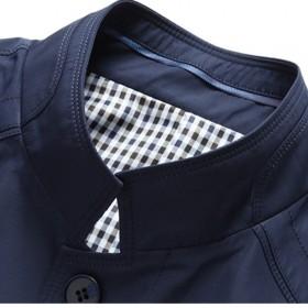 春秋中年男士外套商务立领夹克