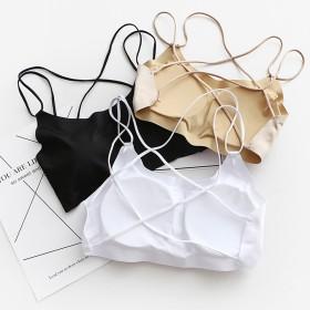 冰丝无痕吊带背心带胸垫防走光短款打底内衣美背裹胸抹