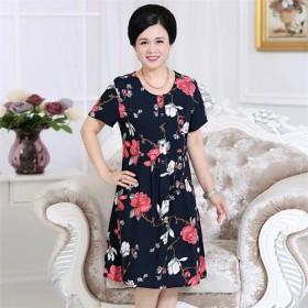 中老年绵绸连衣裙夏季妈妈装夏40-50岁薄中年妇