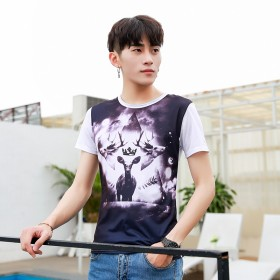 2017夏季新款男式短袖修身T恤衫3D印花图案T恤