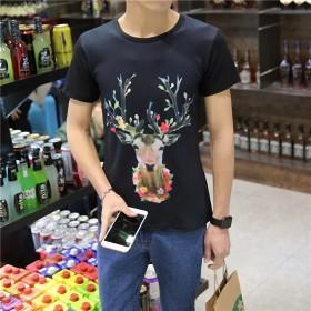 2017新款梅花鹿短袖男式T恤3D图案韩版T恤男