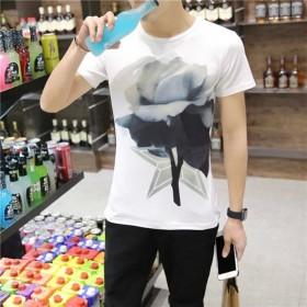 2017夏季荷花短袖T恤男韩版3D图案印花男式T恤