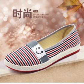 春夏浅口百搭老北京布鞋平底休闲鞋一脚蹬懒人单鞋女鞋