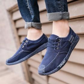 夏季布鞋男板鞋老北京布鞋透气休闲鞋懒人鞋帆布鞋黑色