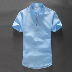简约清新白色短袖棉麻衬衫男士薄款休闲麻料修身半袖亚