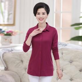 HANRIS瀚瑞品牌秋季纯色衬衫式二用外套妈妈秋装