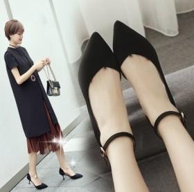 猫跟鞋女2017新款百搭中跟工作鞋女黑色职业尖头裸