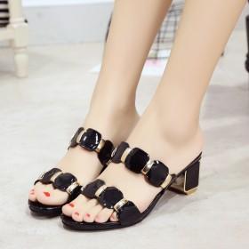 女款拖鞋夏季外穿韩版5公分高跟鞋女方中跟公主百搭