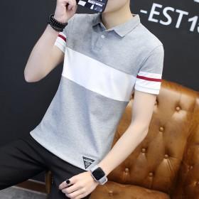 2017夏季男士韩版短袖T恤修身潮流夏天翻领上衣P