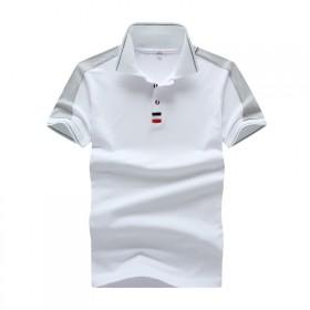 运动短袖薄款T恤白色修身版翻领青少年高弹力纯棉