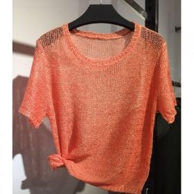 新款夏季V领短袖镂空针织衫女潮