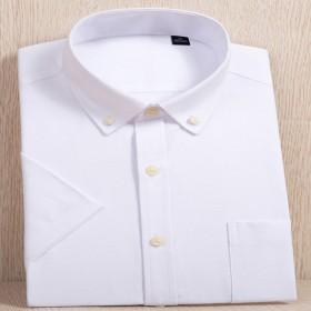 夏季男士衬衣韩版修身衬衫牛津纺男式短袖职业装衬衫现