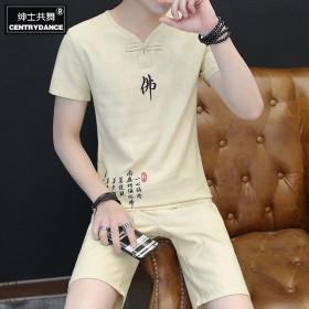 夏季短裤男士套装韩版亚麻潮流宽松休闲裤子五分裤衩