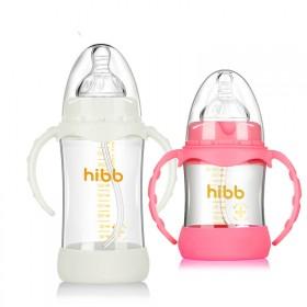 婴儿宽口玻璃奶瓶新款防摔防胀气 新生宝宝防呛奶小孩