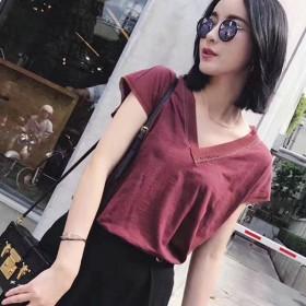 网纱拼接t恤女竹节棉短袖v领韩版时尚女夏装2017