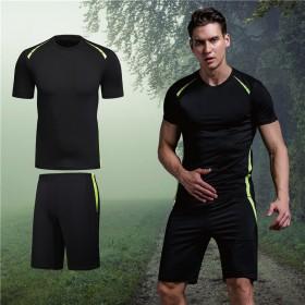 夏季健身套装男短袖两件套透气速干衣吸汗运动套装大码