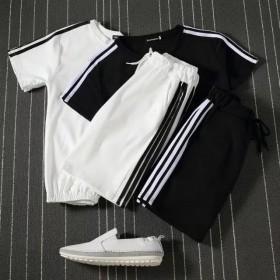 运动套装夏季韩版短袖短裤两件套三条杠宽松学生休闲服