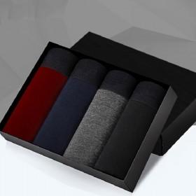 4条装男士内裤纯棉平角裤纯色透气舒适吸汗U凸四角裤
