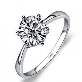 s925纯银戒指韩版六爪结婚戒指 情人节礼物送女友