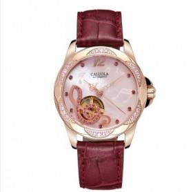 新款全自动机械表女士手表时尚款潮流真皮防水女表