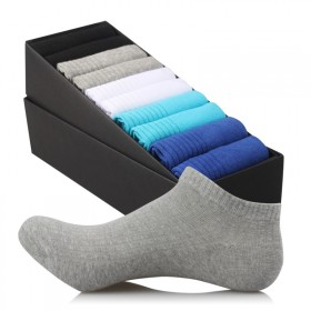 男人光踩10双礼盒装男士全棉夏季运动船袜条纹吸汗网