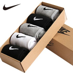 五双耐克纯棉运动袜盒装男袜女袜可选