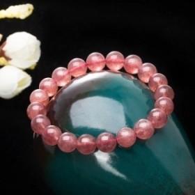 芭法娜_草莓晶手链天然饰品招桃花旺姻缘粉色可爱手串