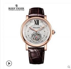 瑞夫泰格陀飞轮机械表男表夜光瑞士皮带镂空男士手表