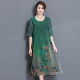 雪纺连衣裙女妈妈装复古气质大码宽松显瘦印花长裙