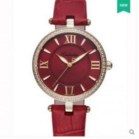 卡罗莱超薄女表水钻皮带时尚潮流石英表女士手表