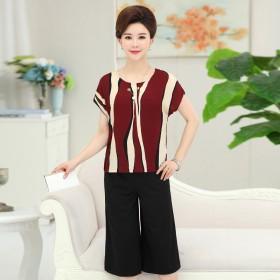 中年女春装夏季两件套装妈妈装大码中老年女装短袖雪纺