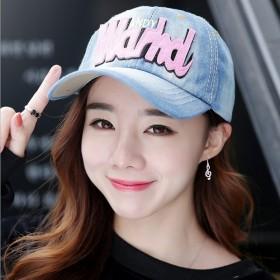 韩版刺字母牛仔棒球帽子女遮阳帽帽子与耳环的搭配清