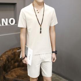 棉麻套装男夏季短袖男士T恤时尚修身潮流