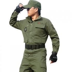 狼石春秋军绿色工作服套装男