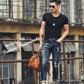 2017年春夏季男装速干短袖圆V领各色纯色打底T恤