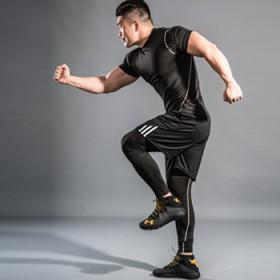 健身服男套装跑步三件套装健身房运动套装宽松弹力速干