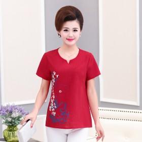 中老年棉麻短袖T恤40-50岁妈妈夏装大码宽松上衣