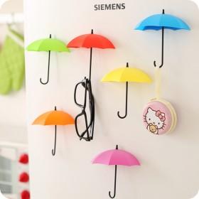 3个装雨伞造型墙上粘胶免钉挂钩装饰小物创意可爱粘钩