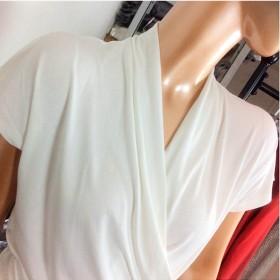 外贸剪标女装低领修身百搭女土短袖t恤女
