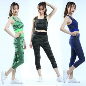 2017新款女士瑜伽服运动系列紧身迷彩背心七分裤套