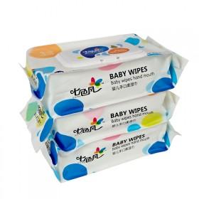 七色风婴儿手口湿巾80抽3包