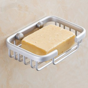 太空铝肥皂架方形网篮 浴室置物架 肥皂网香皂盒